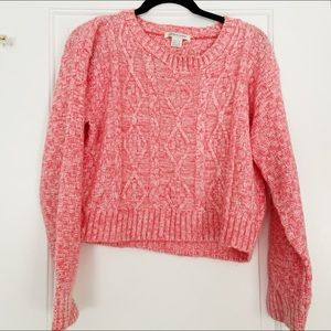 Cropped Pink Cable Knit Sweater